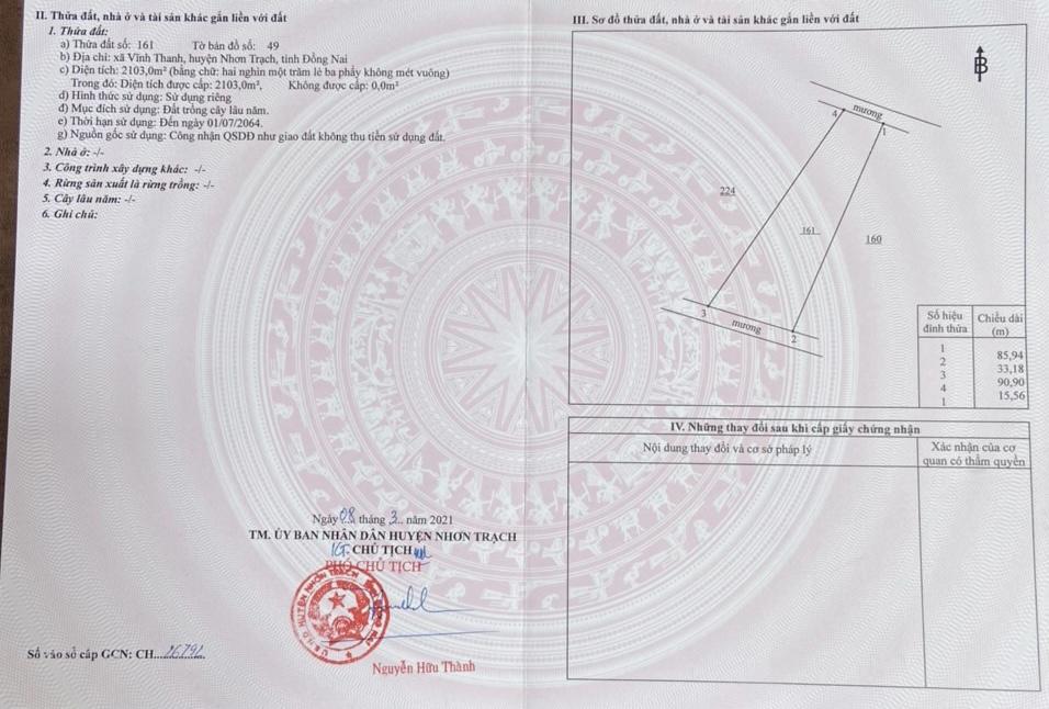 VĨNH THANH 4516M2 CLN ĐƯỜNG XE HƠI TỚI ĐẤT GIÁ BAO ĐẦU TƯ